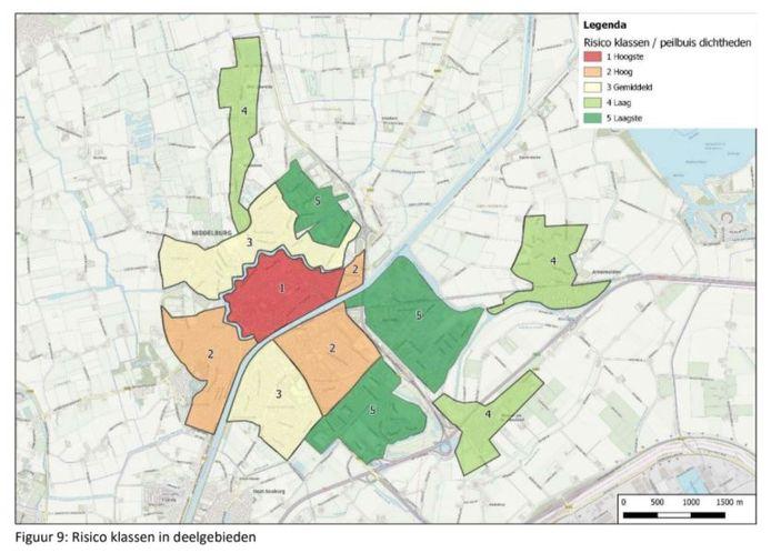 Kaart met indeling van de gemeente Middelburg in wijken met een verschillend risico op problemen door grondwater. De kaart komt uit het rapport 'Ontwerp grondwatermeetnet gemeente Middelburg'.