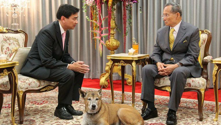 Over de Thaise koning Bhumibol - rechts - en zijn hond kun je beter geen grapjes maken. Beeld EPA