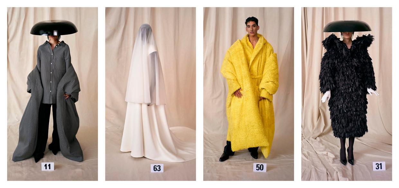 Gele jas en stola van gesneden leer, gevoerd met kasjmierfleece van Balenciaga couture Beeld DM