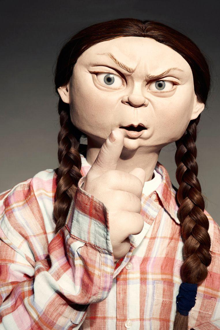 De popvariant van Greta Thunberg.  Beeld SBS
