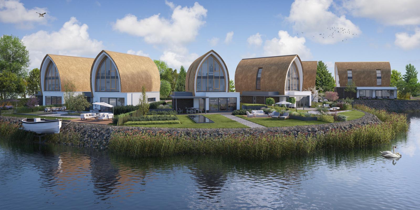 Een beeld van de toekomstige villa's aan het water van de Hollandsche IJssel. De boot mag niet in het water liggen.
