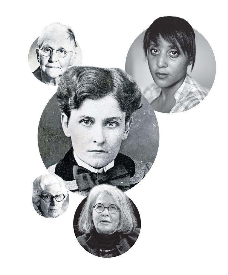 Met de klok mee: M.E.R, Ronelda Kamfer, Marie du Toit (midden), Antjie Krog, Elisabeth Eybers. Beeld null