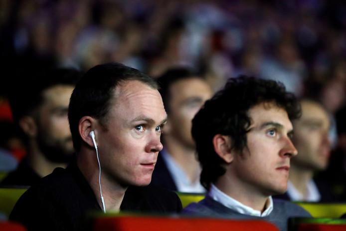 Chris Froome en Geraint Thomas, de winnaar van dit jaar, bij de presentatie van de Tour van volgend jaar.