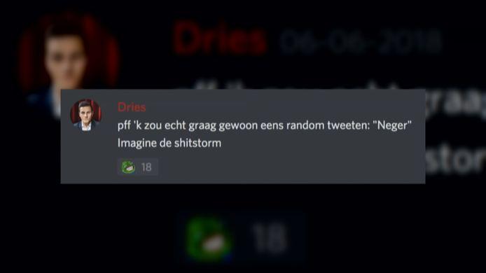 Een van de boodschappen van Dries Van Langenhoven in een geheime chatgroep van 'Schild & Vrienden'.