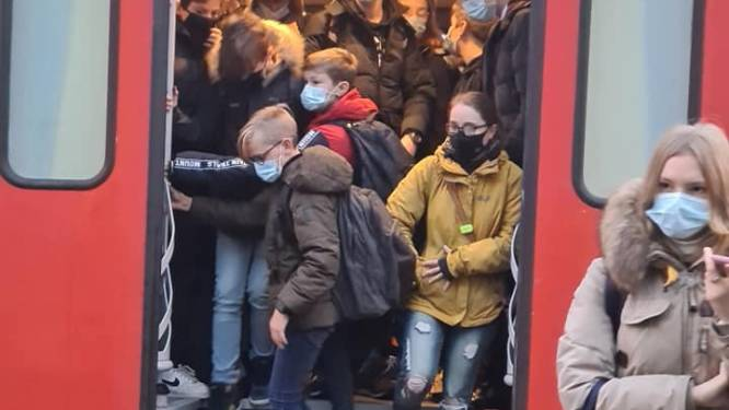"""Beelden van tjokvolle trein tussen Roeselare en Brugge oogsten kritiek: """"Compleet onverantwoord in coronatijden"""""""