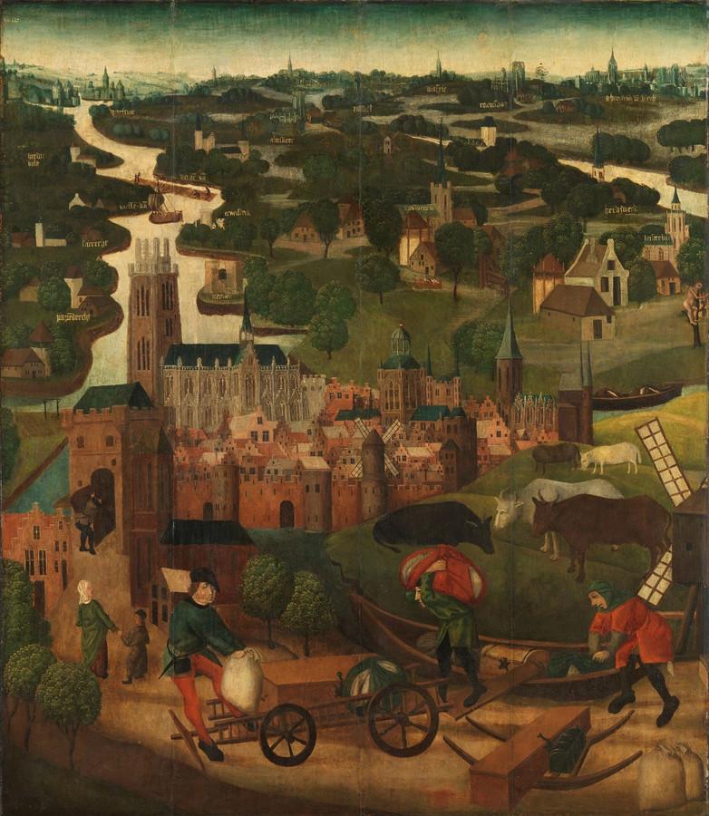 Het eerste paneel: Meester van de Heilige Elisabeth-Panelen. De Sint Elisabethsvloed met de stad Dordrecht op de achtergrond, ca. 1490-1495, Rijksmuseum.