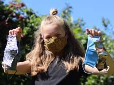 Jules uit Gronau naait  mondkapjes voor Jones en voor de veiligheid