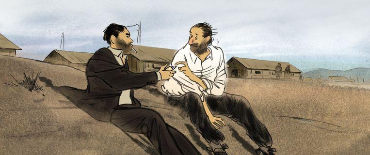 Josep (rechts) en een andere gevangene in het concentratiekamp. Beeld