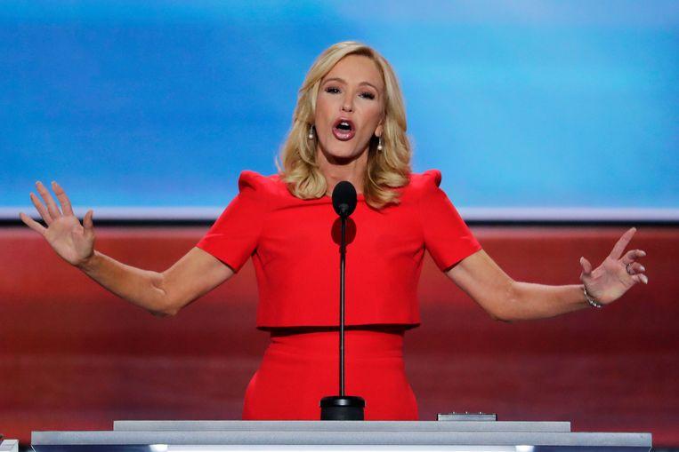 Paula White-Cain tijdens de openingsdag van de Republikeinse Conventie in Cleveland in 2016. Beeld AP