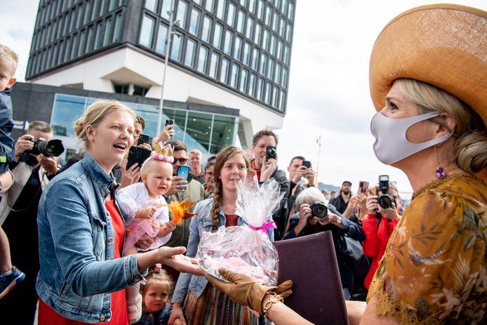 Koningin Maxima tijdens een bezoek aan het Eye Filmmuseum in Amsterdam ter gelegenheid van het 75-jarige bestaan.