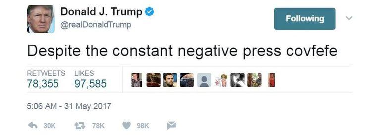 Tweet van 31 mei 2017 Beeld @realDonaldTrump