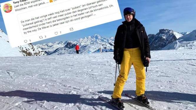 """PVDA-kandidaat over skiënde De Wever: """"Laat hem de gevaarlijkste piste kiezen. Misschien, met wat geluk..."""""""