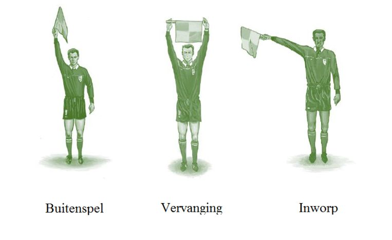 De lijnrechter zwaait niet zomaar met een vlaggetje. Bij een inworp geeft de richting van de vlag aan welk team de bal krijgt. Beeld RV
