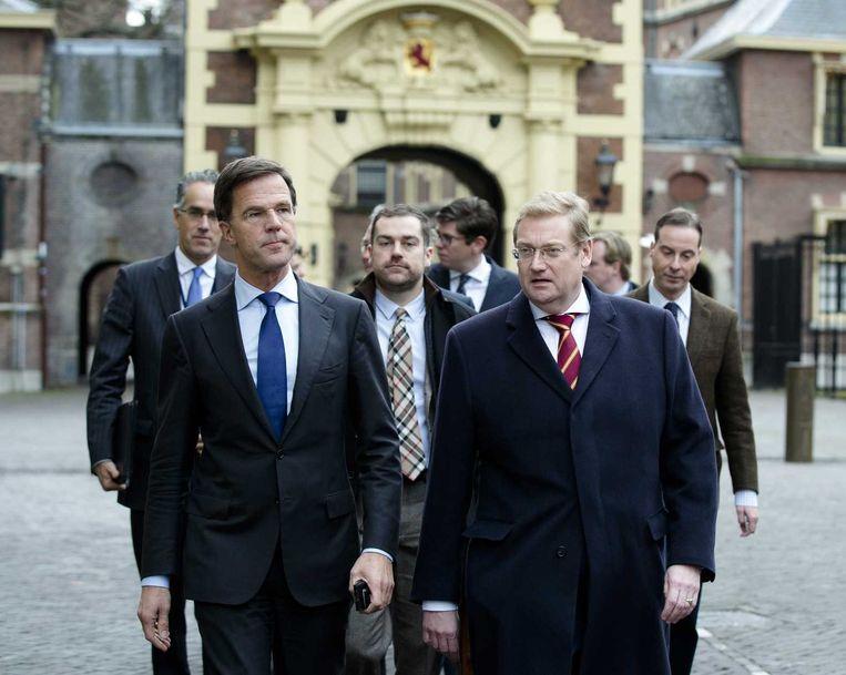 Premier Rutte met minister Van der Steur en staatssecretaris Dijkhoff op het Binnenhof. Beeld anp