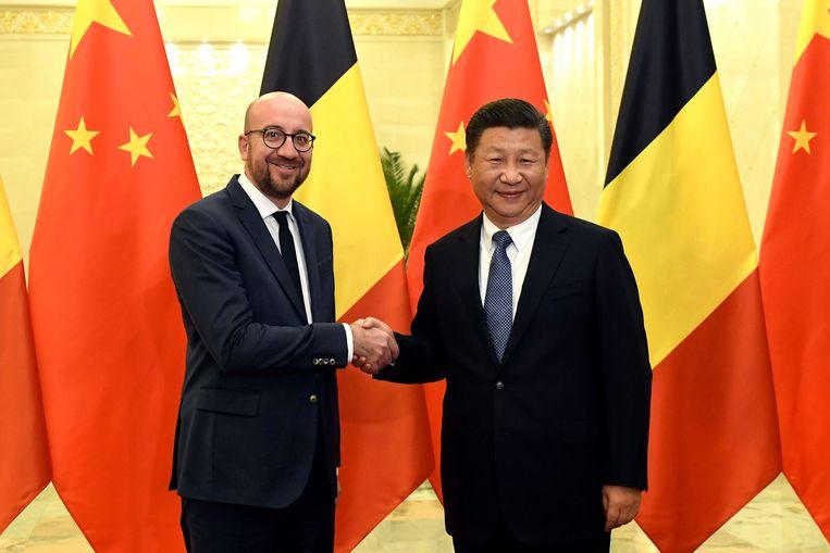 Toenmalig premier Charles Michel ontmoet de Chinese president Xi Jinping. Beeld Photo News