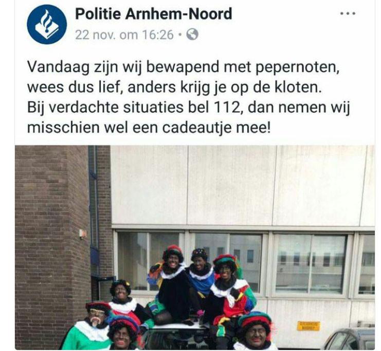 Screenshot van het omstreden politiebericht op Facebook.