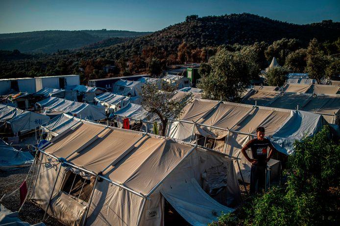 Een tentenkamp op Lesbos.