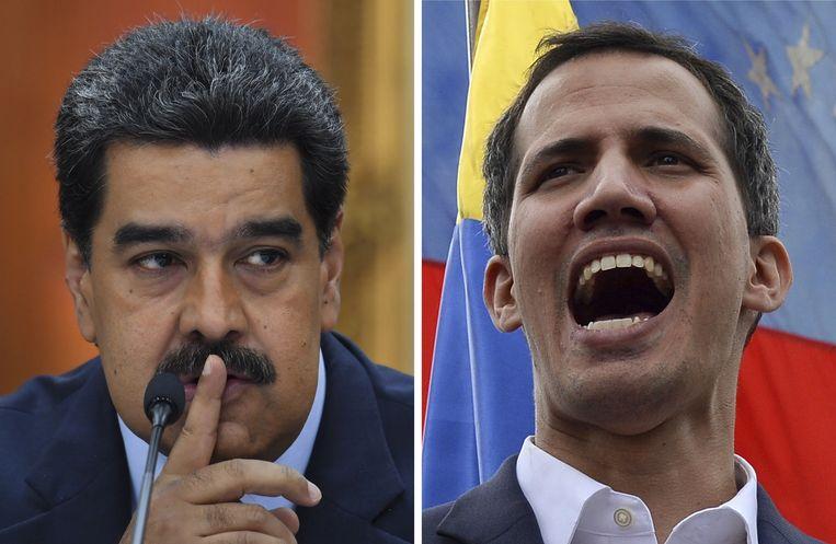 President van Venezuela Nicolas Maduro en oppositieleider Juan Guaido. Beeld ire