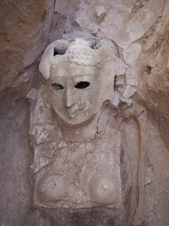 Het cartonnage van een vrouwelijke mummie die werd aangetroffen aan aan de Taposiris Magna-tempel.