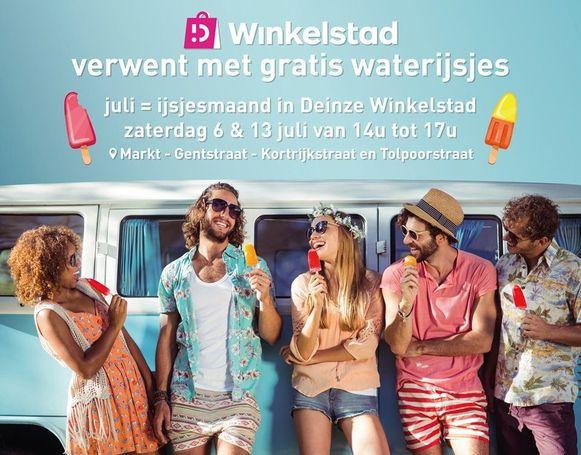 Vzw Deinze Winkelstad deelt gratis ijsjes uit.
