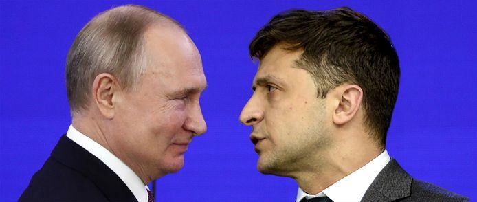 De Russische President Vladimir Poetin in een foto-edit tegenover het Oekraïense staatshoofd Volodymyr Zelensky.