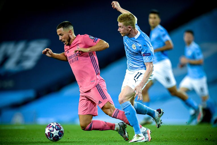 Het Real Madrid van Eden Hazard en het Manchester City van Kevin De Bruyne horen bij de grondleggers van de Super League. Beeld EPA