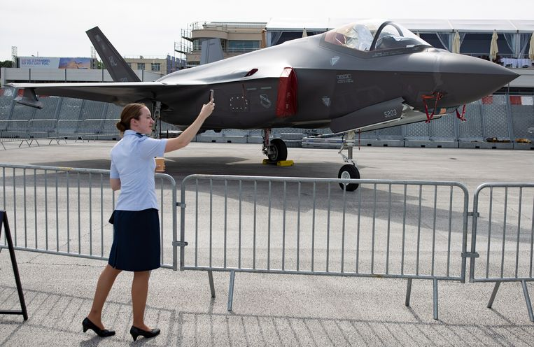 De F-35 van Lockheed Martin op een luchtshow in Parijs vorige week. Beeld EPA