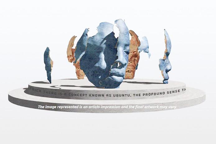 Schets van het winnende ontwerp voor het monument ter nagedachtenis aan Nelson Mandela in Zuidoost.