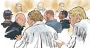 Rechtbanktekening met daarop (v.l.n.r.) Willem-Jan H., Dennis van D., Robin van O. en Michael B. tijdens een inleidende zitting. De verdachten zouden in een loods in Wouwse Plantage zeven zeecontainers hebben omgebouwd tot cellen, waarin gekidnapte criminele vijanden zouden worden opgesloten.