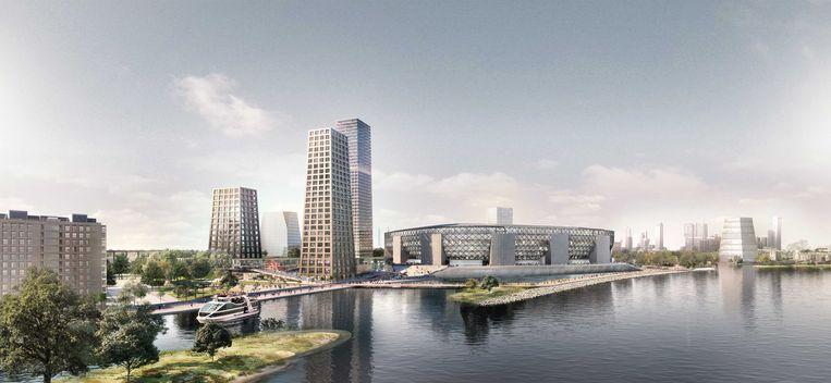De plannen voor Feyenoord City omhelzen onder meer een nieuw voetbalstadion, bijna vierduizend nieuwe woningen en ruimte voor winkels en horeca. Beeld ANP