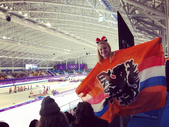 Jorieke Drent in het Olympisch schaatsstadion.