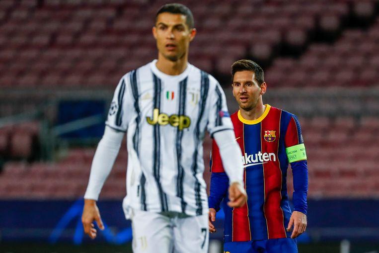Juventus- en Barcelona-sterren Cristiano Ronaldo en Lionel Messi tijdens een Champions League-wedstrijd dit seizoen. Beeld AP