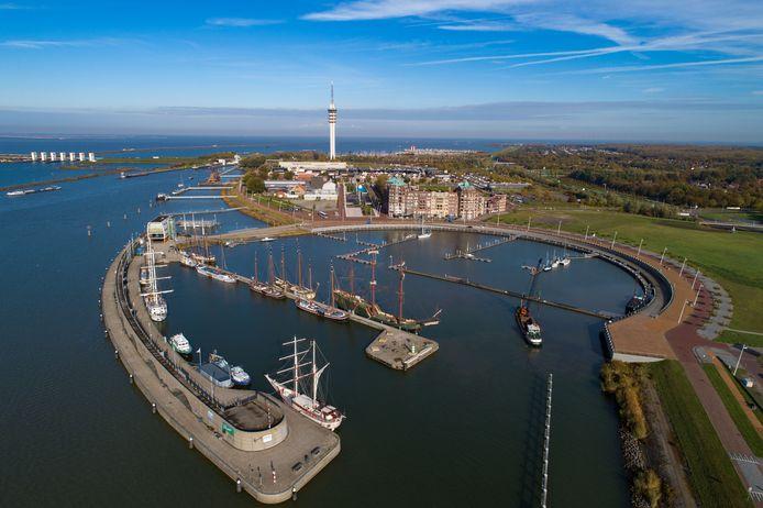 Batavia Haven in Lelystad met een deel van de bruine vloot.