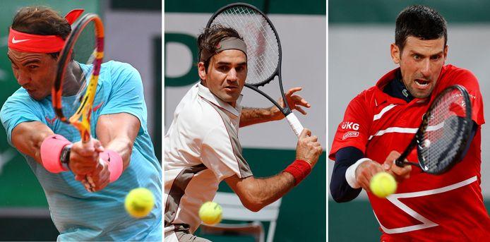Rafael Nadal, Roger Federer en Novak Djokovic.