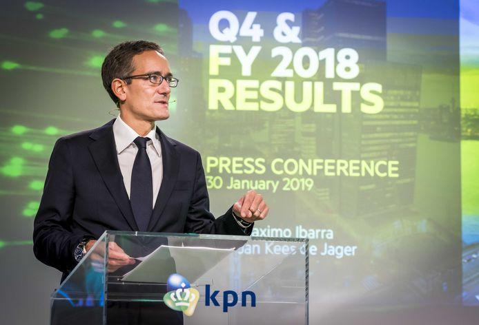Ceo Maximo Ibarra licht de jaarcijfers van KPN toe.
