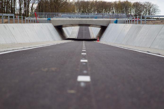 De wanden van de fietstunnel in Dommelen zijn nu nog grauw.