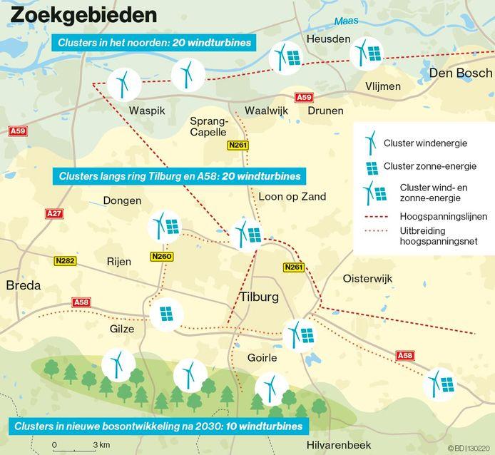 Schematig overzicht van de zoekgebieden voor windmolens en zonnevelden in regio Hart van Brabant.