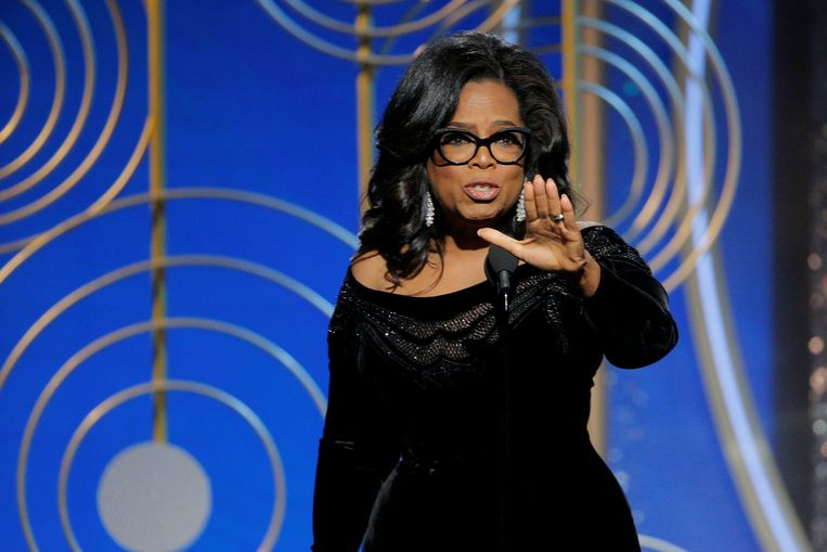 Oprah Winfrey krijgt de Cecil B. Demille Award op de 75th Golden Globe Awards. Beeld REUTERS