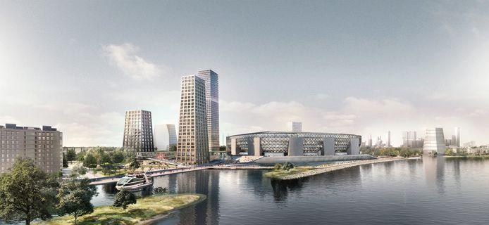 Feyenoord City, met het stadion op de oever van de Nieuwe Maas.