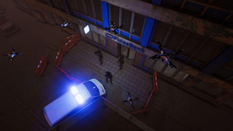 In de VR-beleving van 'De Dag' moet je met je team een bank binnendringen om slachtoffers van een gijzeling te bevrijden.