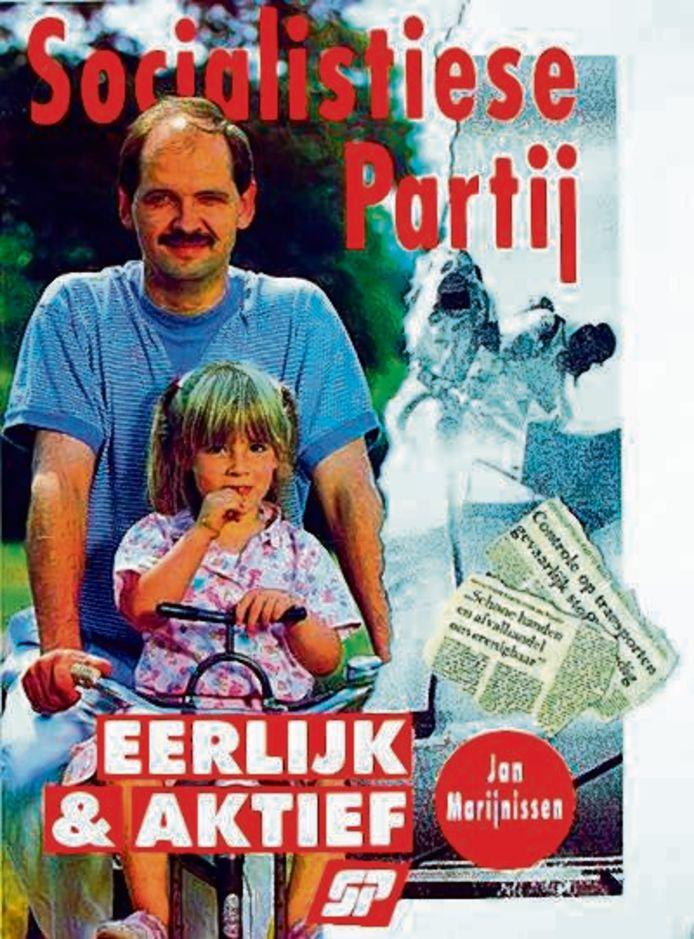 Lilian Marijnissen als 4-jarig meisje met haar vader Jan op de verkiezingsposter van de SP.