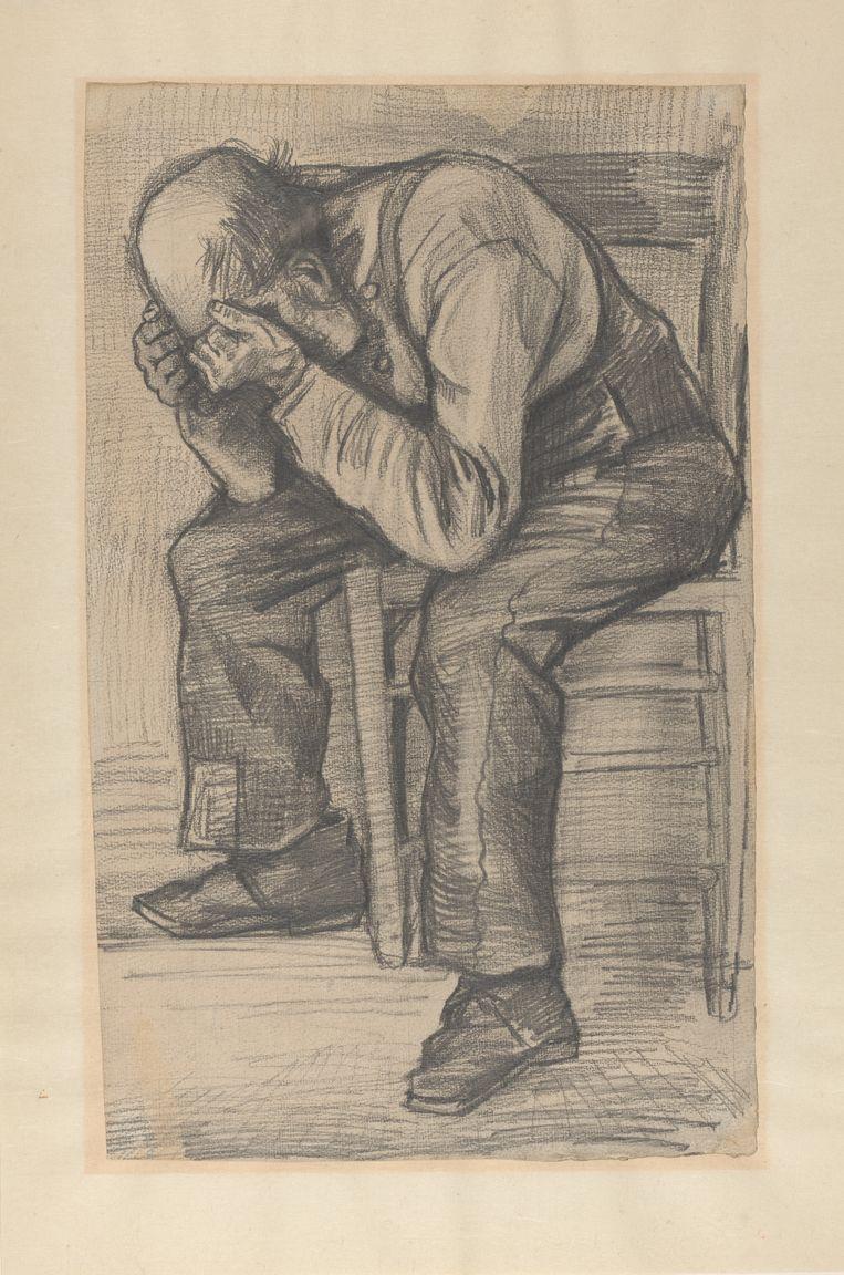 Vincent van Gogh, Studie  voor 'Worn out', rond 24 november 1882. Timmermanspotlood op aquarel papier, 48.8 x approx. 30 cm. Beeld Privécollectie
