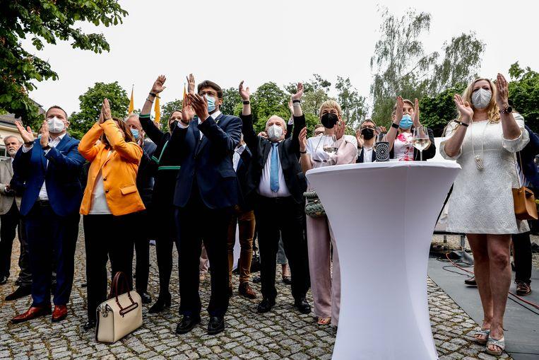 Feest bij het CDU. Beeld EPA