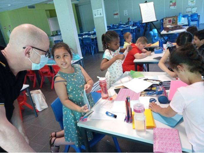 De kinderen gingen ook zelf aan de slag met illustraties.