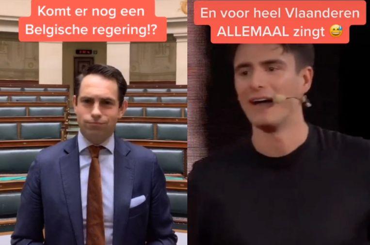 VB-voorzitter Tom Van Grieken en sp.a-voorzitter Conner Rousseau. Beeld TikTok
