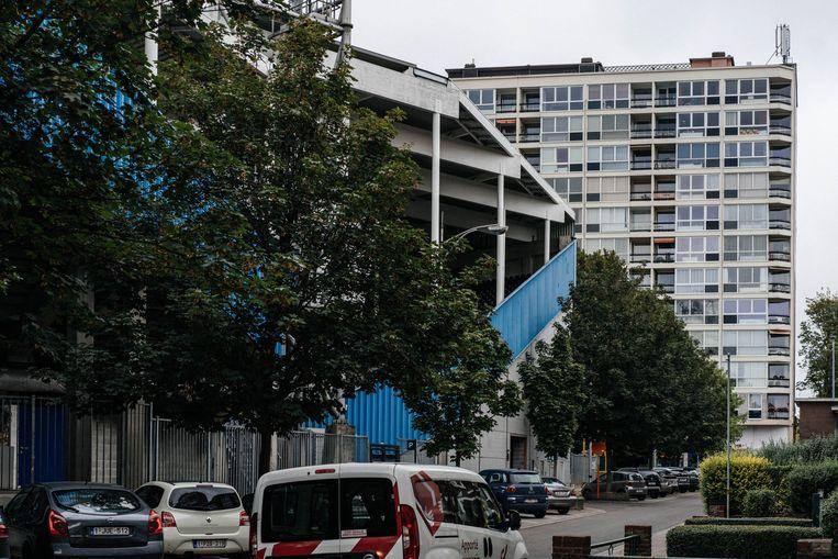 Het oude Stade de Pays de Charleroi, oftewel Mambourg, waar politici zich graag laten opmerken. Beeld Wouter Van Vooren