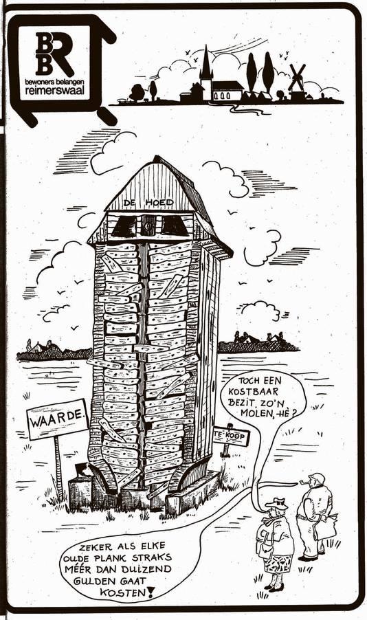 De BBR had in 1990 kritiek op de dure verplaatsing van Molen De Hoed van Kruiningen naar Waarde.
