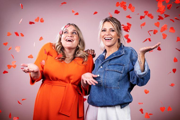Ruth Beeckmans en Karen Damen presenteren 'Cupido Ofzo'. Beeld Dpg media