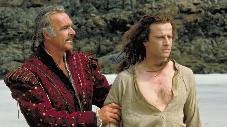 Sean Connery en Christopher Lambert in Highlander van Russell Mulcahy Beeld