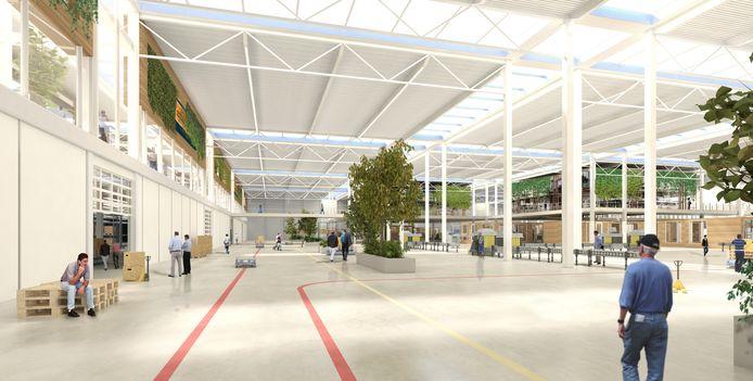 Een artist's impression van de fabriek van de toekomst op de Brainport Industries Campus (BIC) in aanbouw.